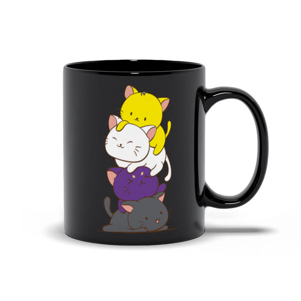 Non-Binary Pride Cute Kawaii Cat Mug 11 oz / Black