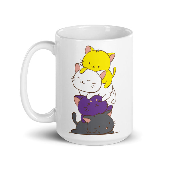 Non-Binary Pride Cute Kawaii Cat Mug 15 oz / White