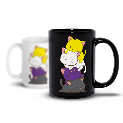 Non-Binary Pride Cute Kawaii Cat Mug Irene Koh Studio