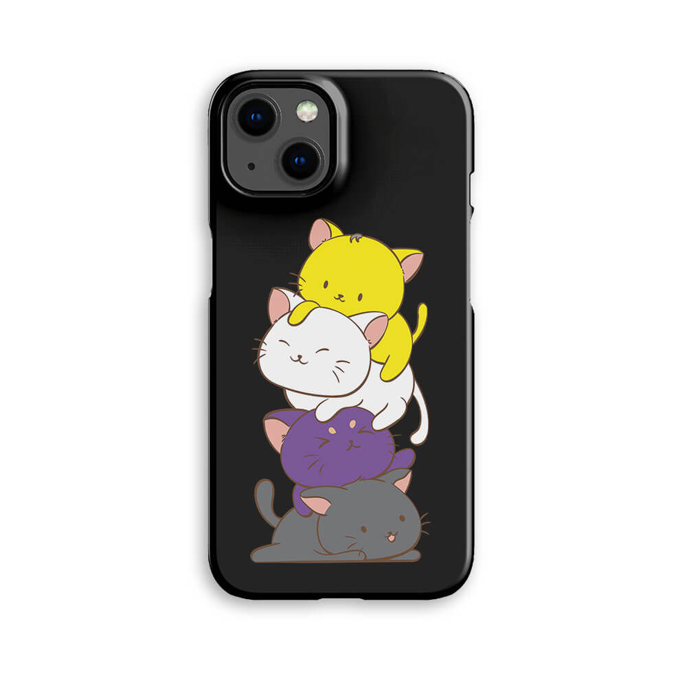 Non-Binary Pride Kawaii Cat Phone Case - Black, Purple, Yellow iPhone 7 / Black Irene Koh Studio