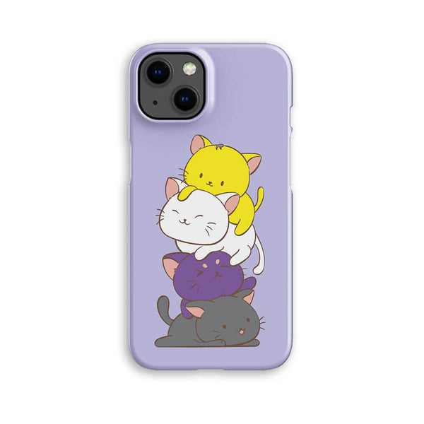 Non-Binary Pride Kawaii Cat Phone Case - Black, Purple, Yellow