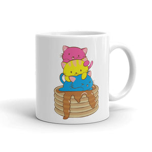 Pansexual Pride Cute Kawaii Cat Mug 11 oz / White