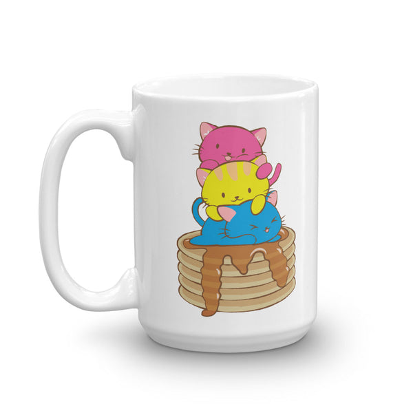 Pansexual Pride Cute Kawaii Cat Mug 15 oz / White