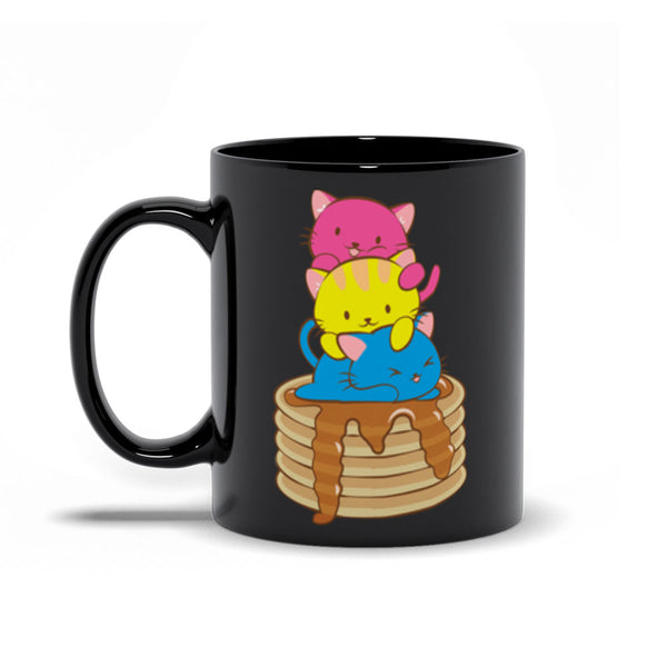 Pansexual Pride Cute Kawaii Cat Mug 11 oz / Black