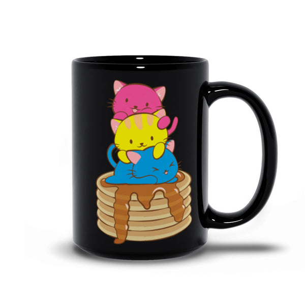 Pansexual Pride Cute Kawaii Cat Mug 15 oz / Black