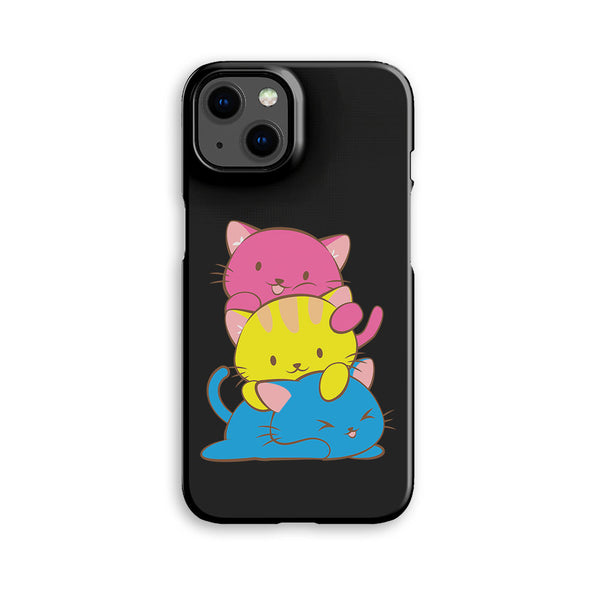 Pansexual Pride Kawaii Cat Phone Case Black