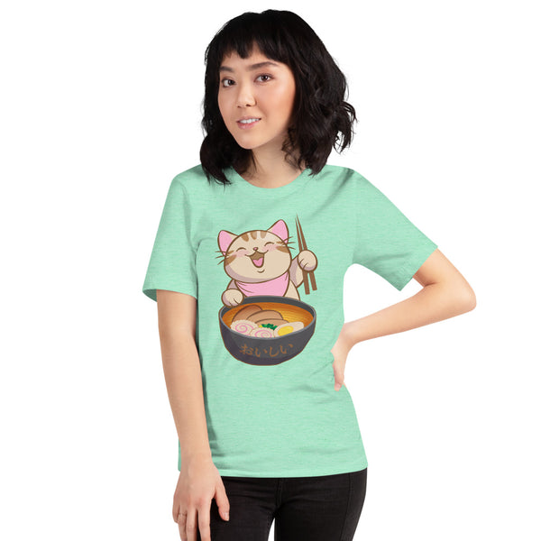 Cute Ramen Cat with Chopsticks Kawaii T-Shirt womens