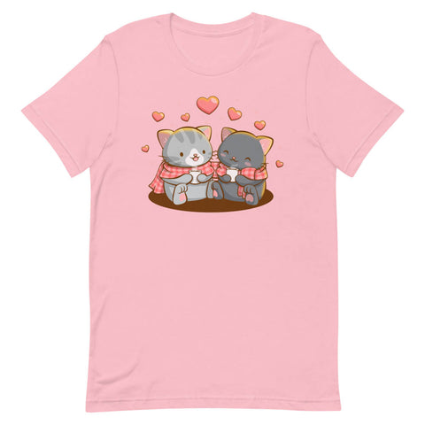 Stay Cozy Valentines Day Kawaii Cats T-shirt - Pink