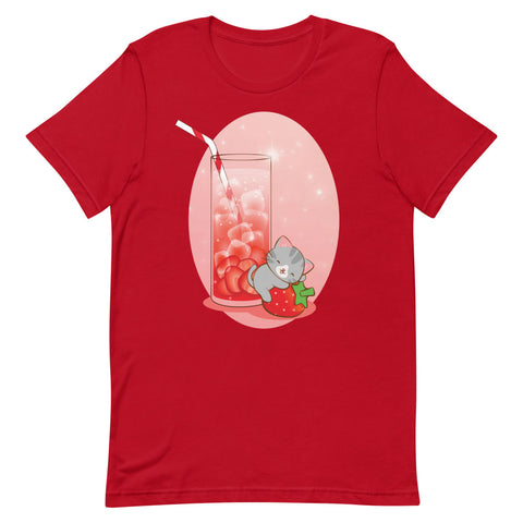 Strawberry Fantasy Kawaii Cat T-shirt S / Red