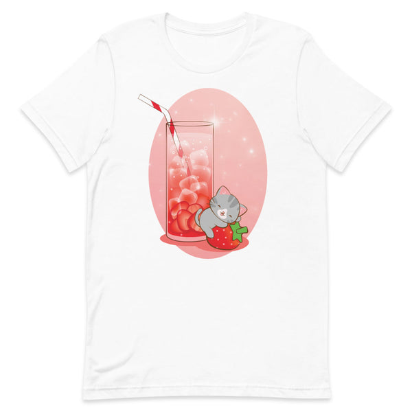 Strawberry Fantasy Kawaii Cat T-shirt Irene Koh Studio