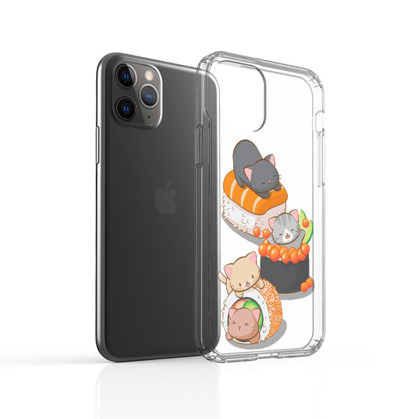 Cute Sushi Cats Kawaii Phone Case - Clear Aesthetic