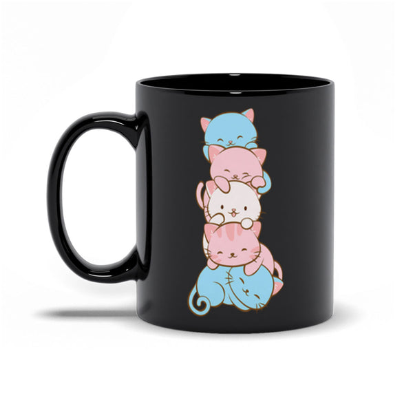 Transgender Pride Cute Kawaii Cat Mug black 11 oz