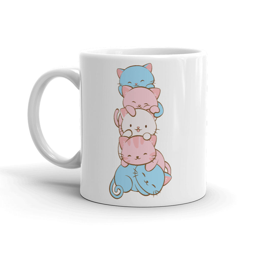 Transgender Pride Cute Kawaii Cat Mug 11 oz / White