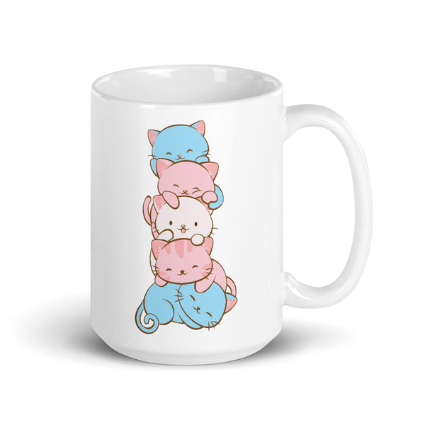 Transgender Pride Cute Kawaii Cat Mug 15 oz / White
