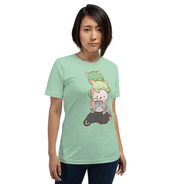 Kawaii Cat Pile Aromantic Pride T-Shirt