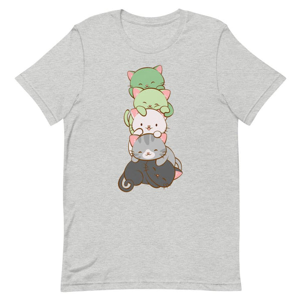 Kawaii Cat Pile Aromantic Pride T-Shirt S / Athletic Heather
