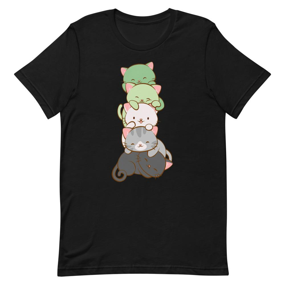 Kawaii Cat Pile Aromantic Pride T-Shirt S / Black