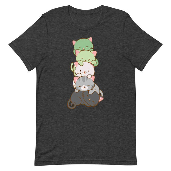 Kawaii Cat Pile Aromantic Pride T-Shirt S / Dark Grey Heather