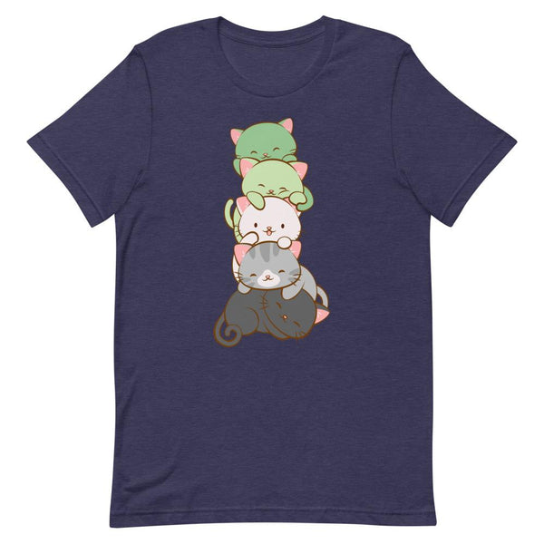 Kawaii Cat Pile Aromantic Pride T-Shirt S / Heather Midnight Navy