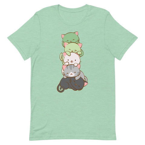 Kawaii Cat Pile Aromantic Pride T-Shirt S / Heather Prism Mint Irene Koh Studio