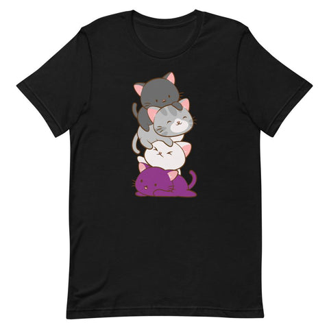 Kawaii Cat Pile Asexual Pride T-Shirt S / Black