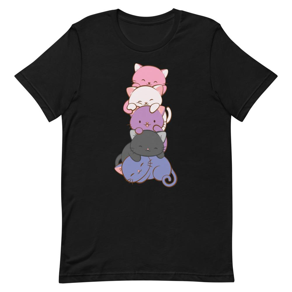 Kawaii Cat Pile Genderfluid Pride T-Shirt S / Black