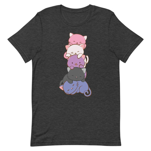 Kawaii Cat Pile Genderfluid Pride T-Shirt S / Dark Grey Heather
