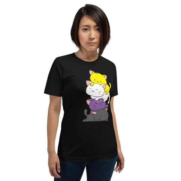 Kawaii Cat Pile Non-Binary Pride T-Shirt