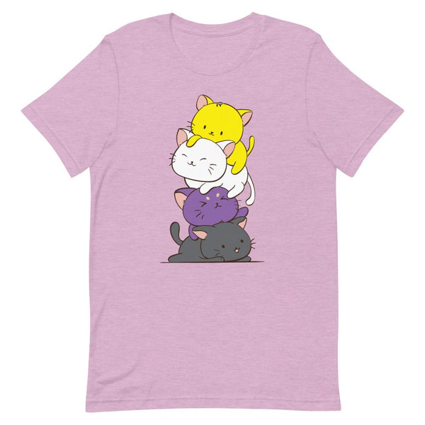 Kawaii Cat Pile Non-Binary Pride T-Shirt S / Heather Prism Lilac