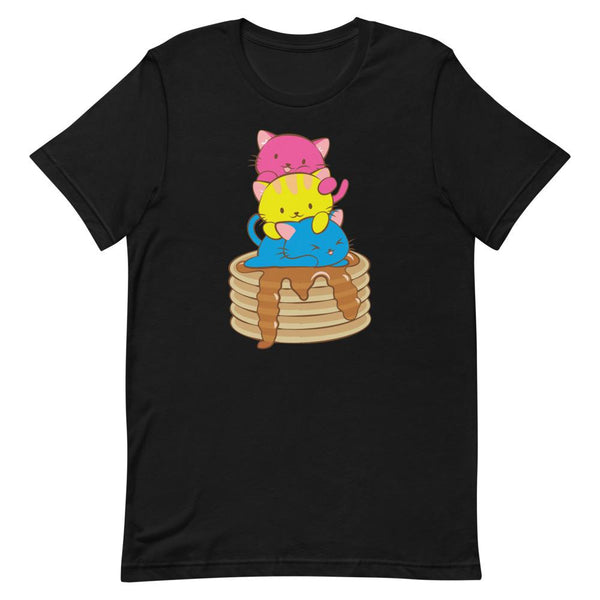Kawaii Cat Pile Pansexual Pride T-Shirt S / Black Irene Koh Studio