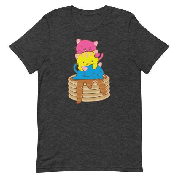 Kawaii Cat Pile Pansexual Pride T-Shirt S / Dark Grey Heather Irene Koh Studio
