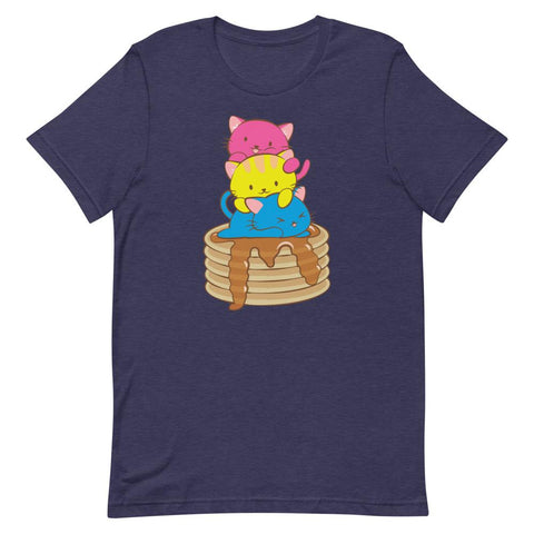 Kawaii Cat Pile Pansexual Pride T-Shirt S / Heather Midnight Navy
