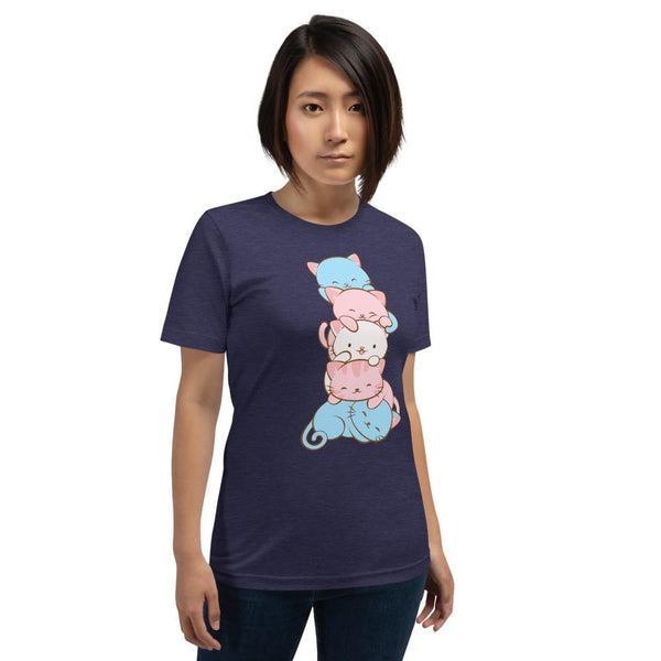 Kawaii Cat Pile Transgender Pride T-Shirt