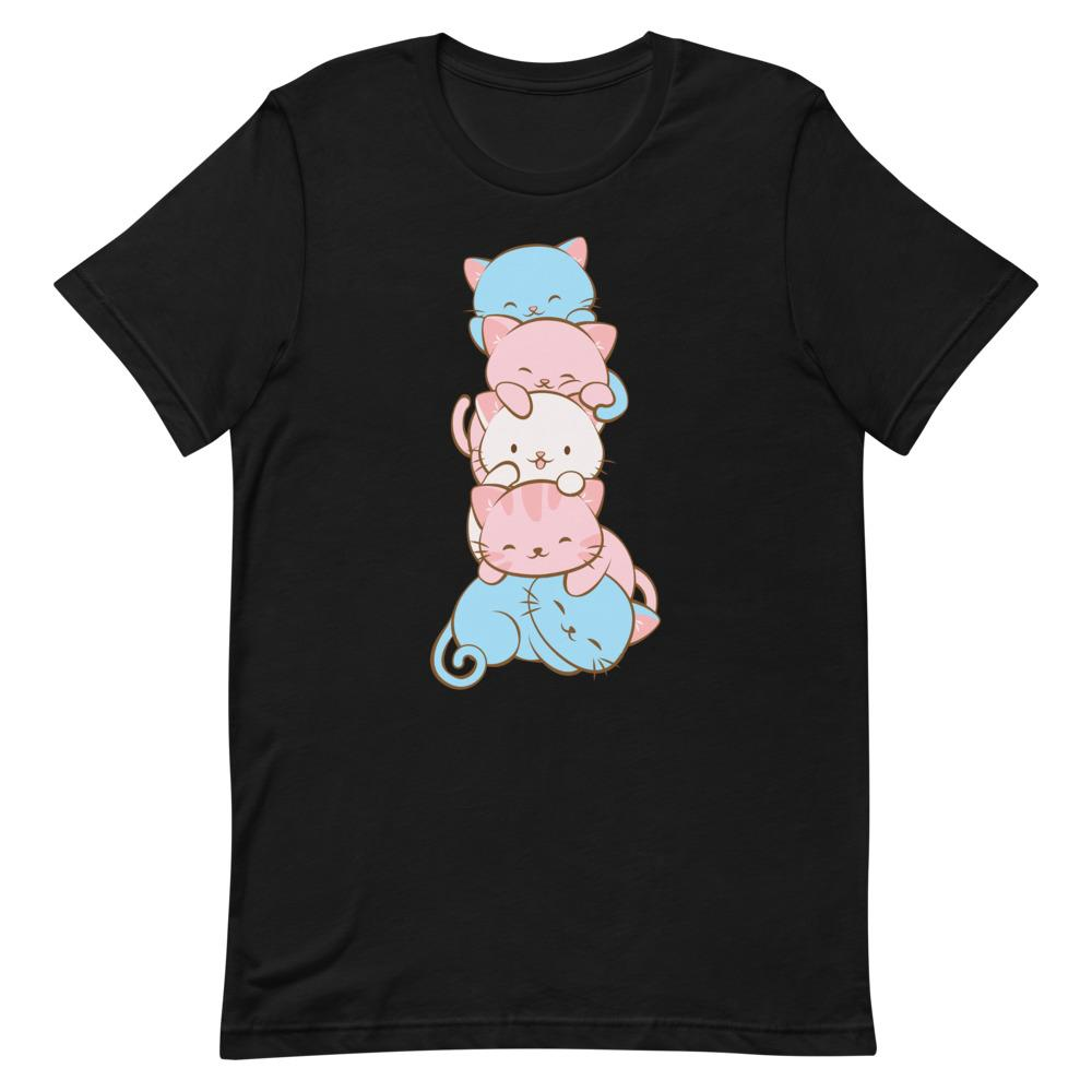 Kawaii Cat Pile Transgender Pride T-Shirt S / Black