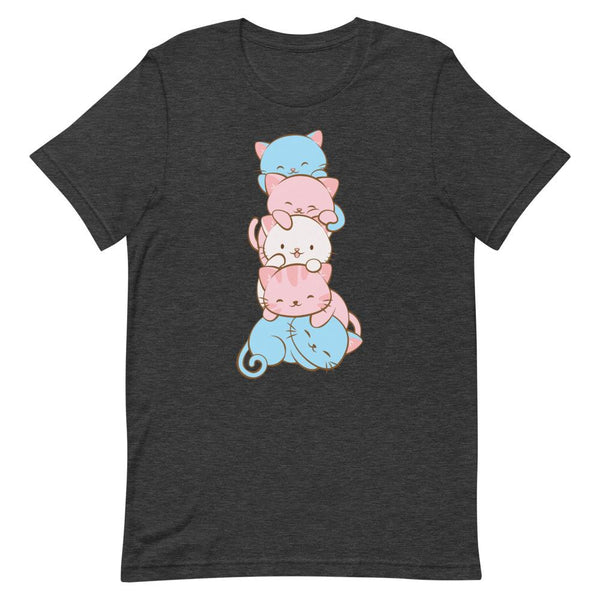 Kawaii Cat Pile Transgender Pride T-Shirt S / Dark Grey Heather Irene Koh Studio