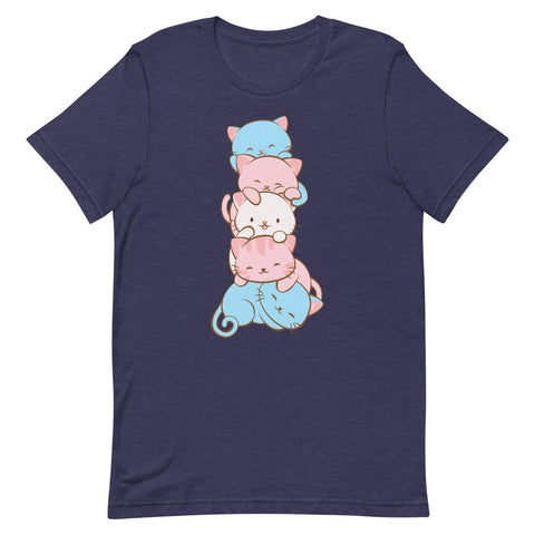 Kawaii Cat Pile Transgender Pride T-Shirt S / Heather Midnight Navy Irene Koh Studio