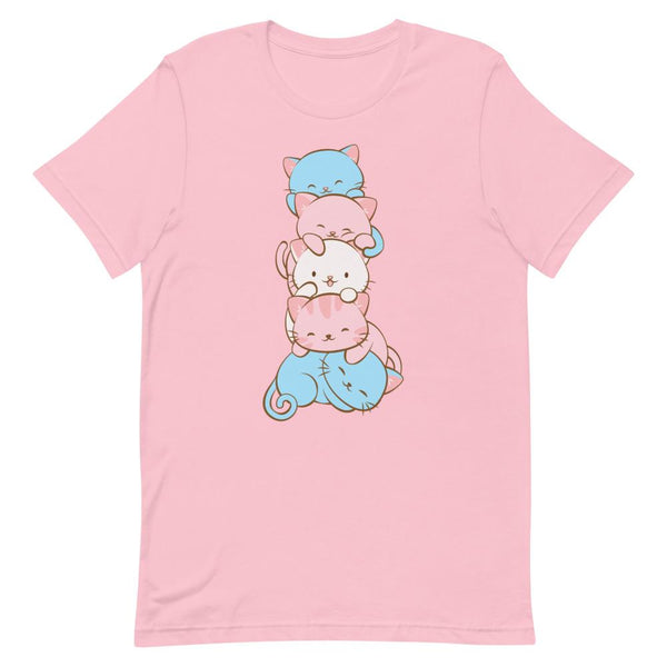 Kawaii Cat Pile Transgender Pride T-Shirt S / Pink