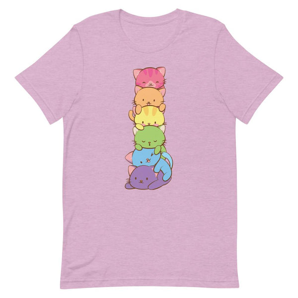 Kawaii Rainbow Cat Pile Gay Pride T-Shirt S / Heather Prism Lilac Irene Koh Studio