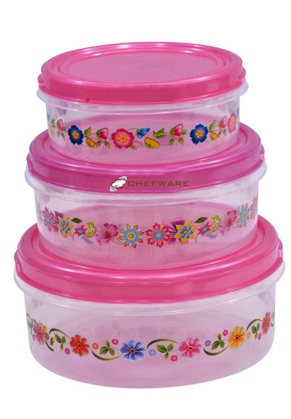 Chefware Storex Containers set of 3 - (Pink)