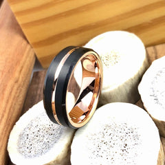 rose gold and black tungsten