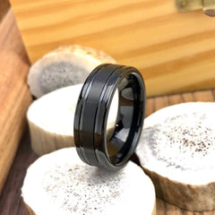 solid black tungsten rings