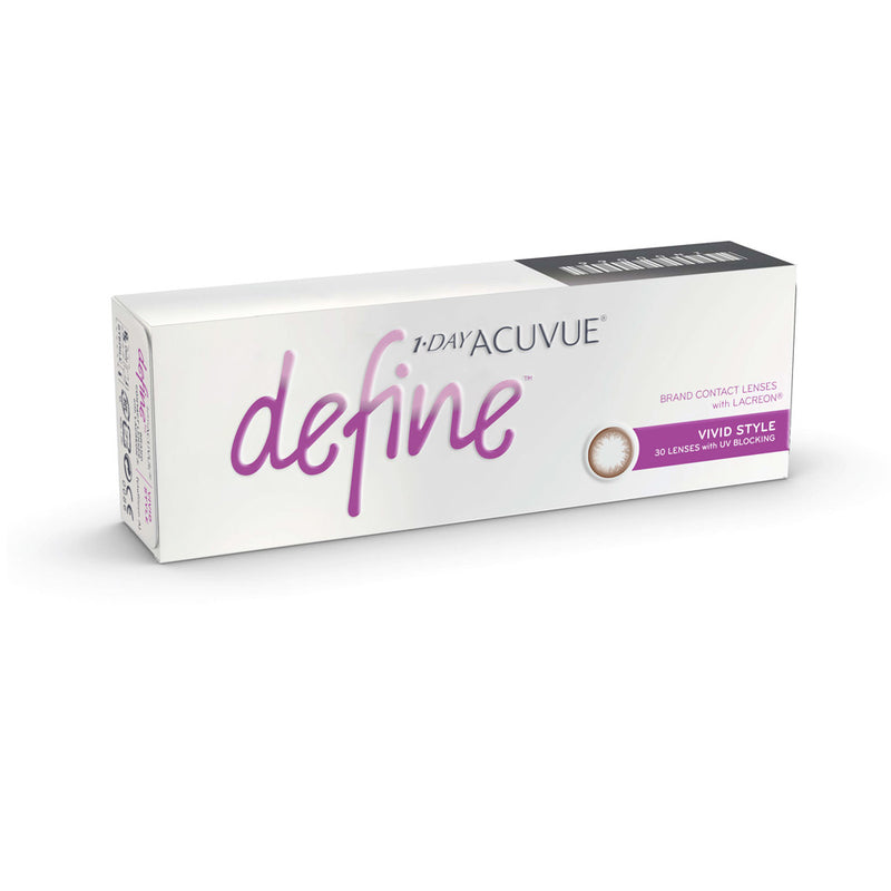 1-Day Acuvue Define contact lenses box