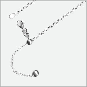 Adjustable 300MB Rolo Magic Ball Chain Sterling Silver