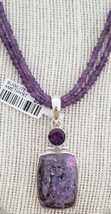 Handcrafted Sterling Silver Pendant with Amethyst and Sugilite Gemstones