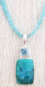 Handcrafted Sterling Silver Pendants with Blue Topaz and Chrysocolla