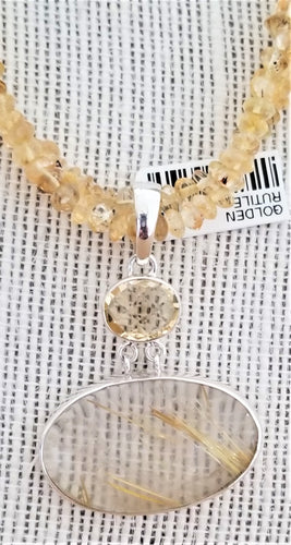 Handcrafted Sterling Silver Pendant with Citrine and Golden Rutilated Quartz Gemstone