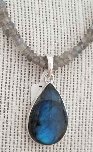 Handcrafted Sterling Silver Pendant with Labradorite Gemstone