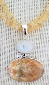Handcrafted Sterling Silver Pendant with Moonstone and Palm Agate Gemstones