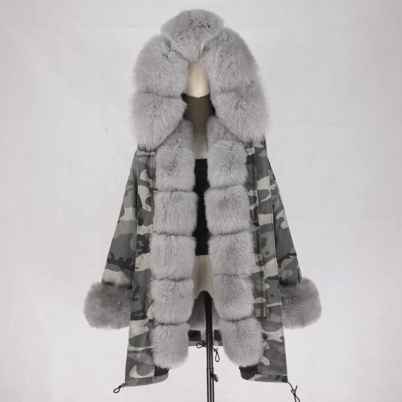 GRAY FUR CAMOUFLAGE PARKA
