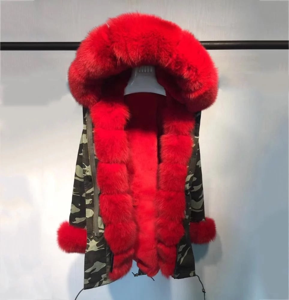 RED FUR CAMOUFLAGE PARKA